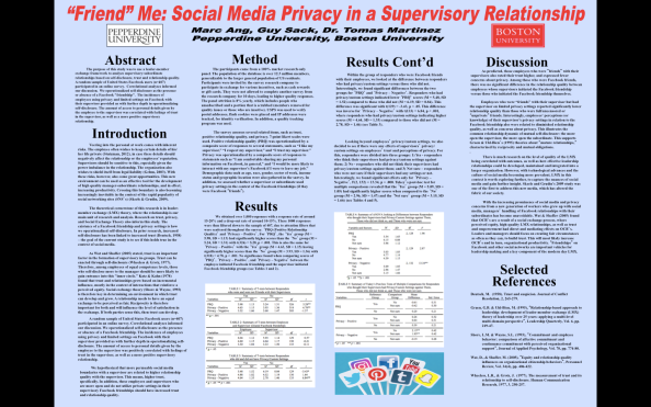 """FRIEND"" ME: SOCIAL MEDIA PRIVACY IN A SUPERVISORY RELATIONSHIP"