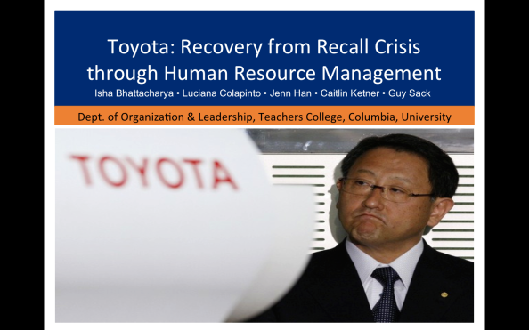 TOYOTA: RECOVERY FROM RECALL CRISIS THROUGH HUMAN RESOURCE MANAGEMENT
